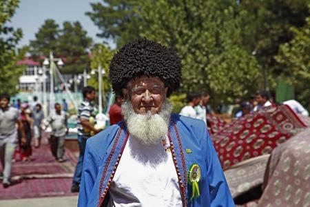 Ashgabat, Turkmenistan - August, 17 ,2017: Melon Festival in Turkmenistan. The oldest participants of the festival.  Melon Festival  spend every year.  Ashgabat, Turkmenistan , August, 17 ,2017 Editorial