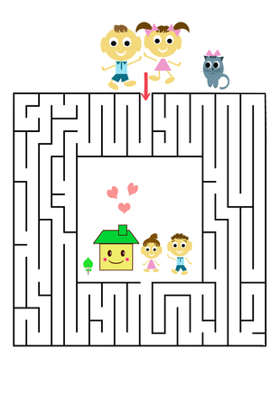 Funny maze game for Preschool Children. Illustration of logical education for children of preschool age. Banco de Imagens