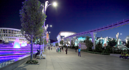 Ashgabat, Turkmenistan -  September 22, 2017: Night view of the sport town, which hosted 5 Asian Games.  Asian indoor games and martial arts, was held in Ashgabat,  Turkmenistan in 2017. From September 17 to September 27.