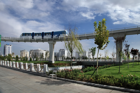 Ashgabat, Turkmenistan - September 26, 2017: Part of the sport complex, with Monorail. Asian indoor games and martial arts, was held in Ashgabat, Turkmenistan in 2017. From September 17 to September 27.