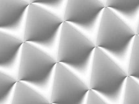 3D decorated white and light grey rhombuses in a repeating pattern. Futuristic geometric monochromatic design for backgrounds, templates, backdrops, surface, textile and fabric designs Archivio Fotografico