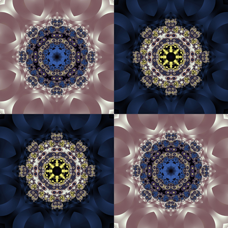 Two-tone pattern with petals and square ornament. You can use it for invitations, notebook covers, phone case, postcards, cards, ceramics, carpets. Artwork for creative design.