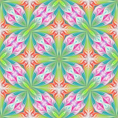 Beautiful seamless flower pattern in fractal design. Artwork for creative design, art and entertainment. Stock Photo