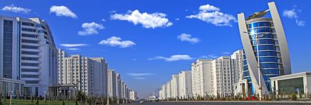 Ashgabat, Turkmenistan - Modern architecture of Ashgabat. Wide boulevard with some new buildings.