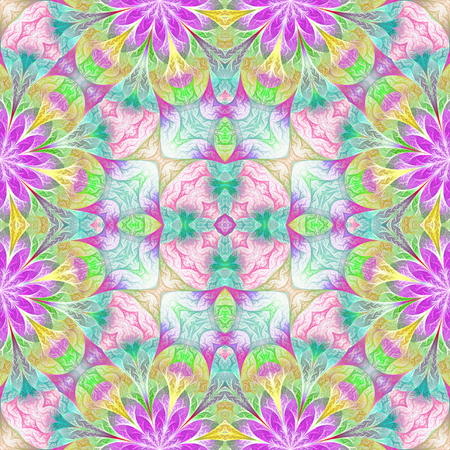 Multicolored flower pattern in fractal design. You can use it for invitations, notebook covers, phone cases, postcards, cards, wallpapers. Artwork for creative design, art and entertainment. Stock Photo