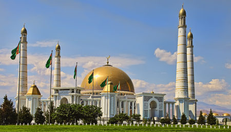 Mosque in Kipchak and mausoleum, in which the former president of Turkmenistan Niyazov is buried. Turkmenistan.