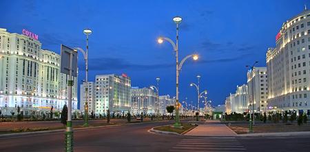 Ashgabad, Turkmenistan - October, 10 2017: Night view of the new boulevard in October, 10 2017. Ashkhabad. Turkmenistan. Editorial