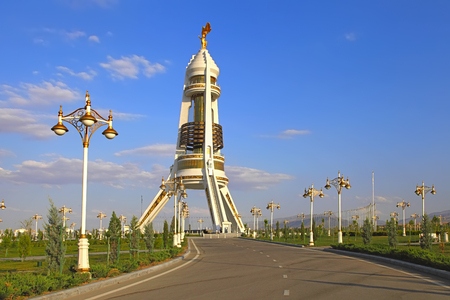 View on the Monument Neutrality Arch from park. Ashkhabad. Turkmenistan.