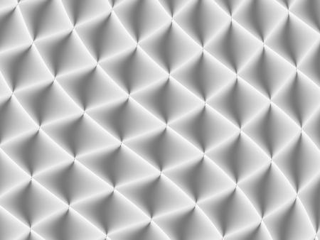 3D decorated white and light grey rhombuses in a repeating pattern. Futuristic geometric monochromatic design for backgrounds, templates, backdrops, surface, textile and fabric designs Stock Photo
