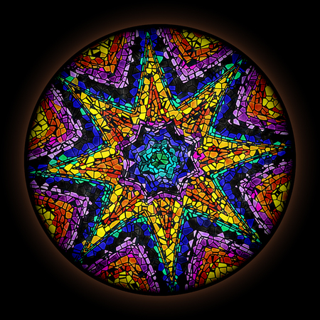Colorful pattern in style of Gothic stained glass window with round frame. Abstract floral ornament. 版權商用圖片