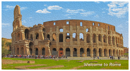 Colosseum in Rome, Italy - artwork in painting style, Inscription - Welcome to Rome Imagens