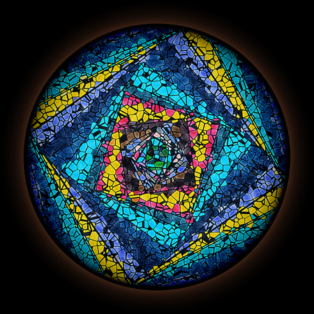 Colorful pattern in style of Gothic stained glass window with round frame. Multicolored Spiral Pattern.