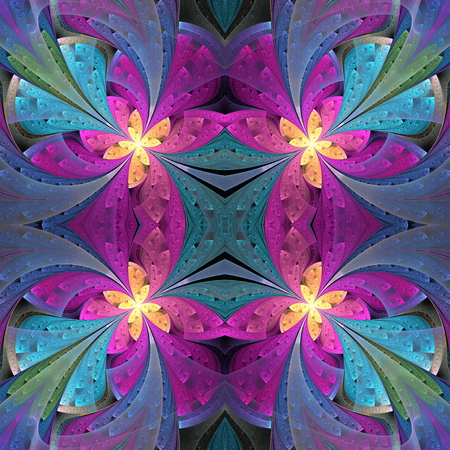 Multicolored floral pattern in stained-glass window style. You can use it for invitations, notebook covers, phone cases, postcards, cards, wallpapers and so on. Artwork for creative design. Standard-Bild - 124899094