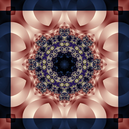 Fabulous fractal background with spiral and petals ornament. You can use it for invitations, notebook covers, phone case, postcards, cards, ceramics, carpets and so on. Artwork for creative design and art. Standard-Bild - 124899158