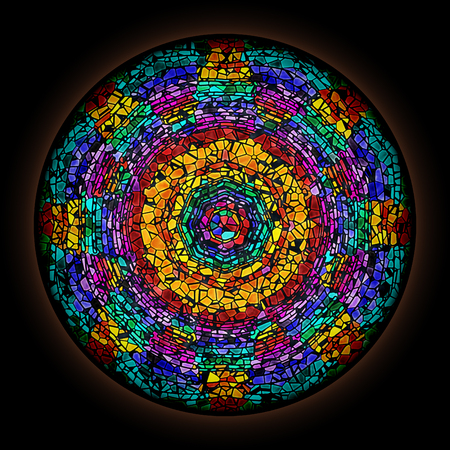 Colorful pattern in style of Gothic stained glass window with round frame. Abstract floral ornament. 写真素材