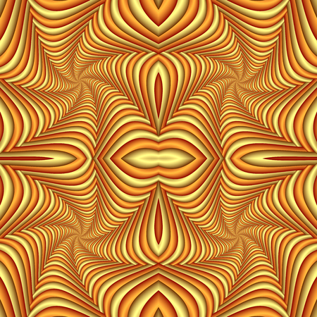Seamless abstract festive pattern, yellow and brown. Tiled ethnic pattern. Geometric mosaic. Great for tapestry, carpet, blanket, bedspread, fabric, ceramic tiles, stained glass window, wallpapers Stock Photo