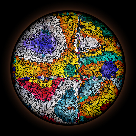 Colorful pattern in style of Gothic stained glass window with round frame. Multicolored abstract ornament.
