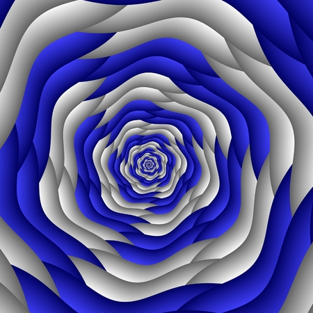 Swirl abstract fractal flower, blue, white. Geometric mosaic pattern. Great for tapestry, carpet, blanket, bedspread, fabric, ceramic tiles, stained glass window, Stock Photo