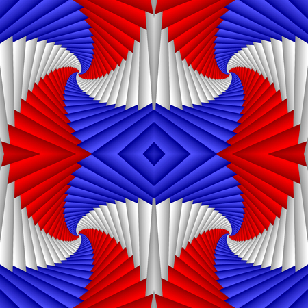 Seamless abstract festive pattern, red, blue, white. Tiled pattern. Geometric mosaic. Great for tapestry, carpet, blanket, bedspread, fabric, ceramic tiles, stained glass window, wallpapers