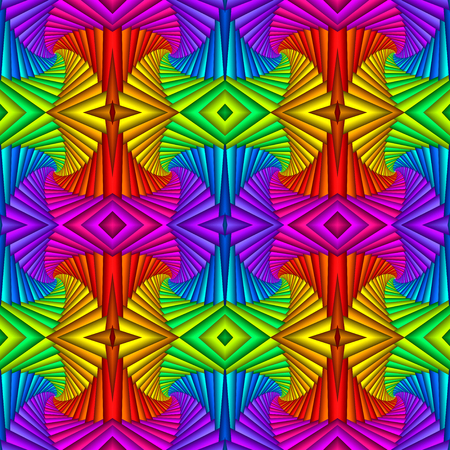 Multicolor Seamless abstract festive vivid pattern. Tiled ethnic pattern. Geometric mosaic. Great for tapestry, carpet, blanket, bedspread, fabric, ceramic tiles, stained glass window, wallpapers