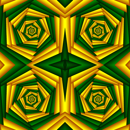 Seamless swirl abstract flower pattern, yellow, green. Tiled pattern. Geometric mosaic. Great for tapestry, carpet, blanket, bedspread, fabric, ceramic tiles, stained glass window, wallpapers