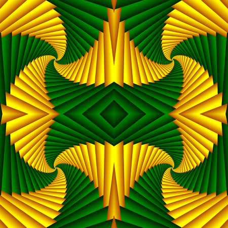 Seamless swirl abstract festive pattern, yellow, green. Tiled pattern. Geometric mosaic. Great for tapestry, carpet, blanket, bedspread, fabric, ceramic tiles, stained glass window, wallpapers