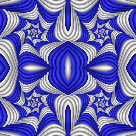 Seamless abstract festive pattern, blue and white. Tiled ethnic pattern. Geometric mosaic. Great for tapestry, carpet, blanket, bedspread, fabric, ceramic tiles, stained glass window, wallpapers
