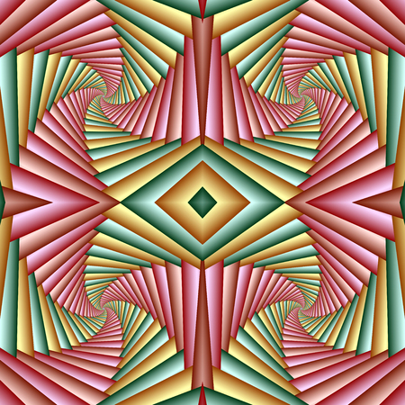 Seamless swirl abstract festive pattern, green, yellow, pink. Tiled pattern. Geometric mosaic. Great for tapestry, carpet, blanket, bedspread, fabric, ceramic tiles, stained glass window, wallpapers