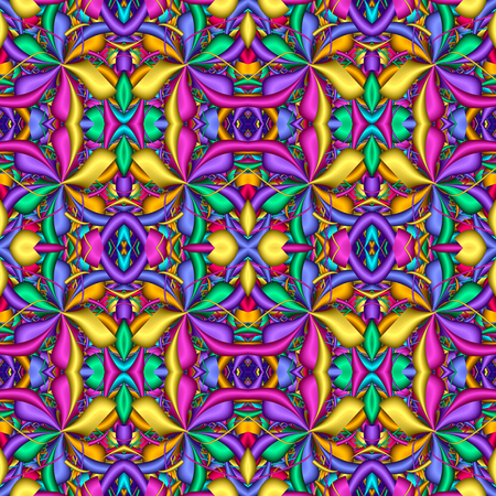 Multicolor Seamless abstract festive vivid pattern. Fantasy flower shapes. 3D elements. Great for tapestry, carpet, blanket, bedspread, fabric, ceramic tiles, stained glass window, wallpapers Stock Photo