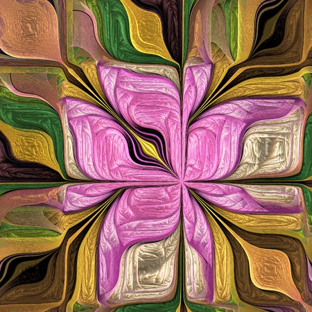 Multicolored Abstract Stylized flower. Modern art. Artwork for creative design, art and entertainment. Archivio Fotografico - 124899478