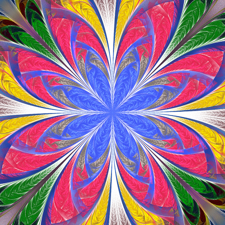 Beautiful multicolored fractal flower. Collection - frosty pattern. You can use it for invitations, notebook covers, phone case, postcards, cards, wallpapers. Artwork for creative design, art. Standard-Bild - 124899482