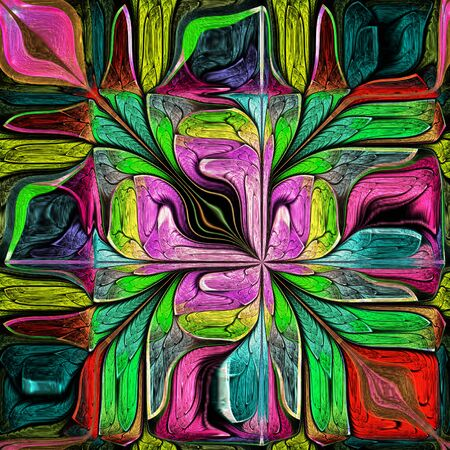 Multicolored Abstract Stylized flower. Modern art. Artwork for creative design, art and entertainment. Stock Photo - 126648463
