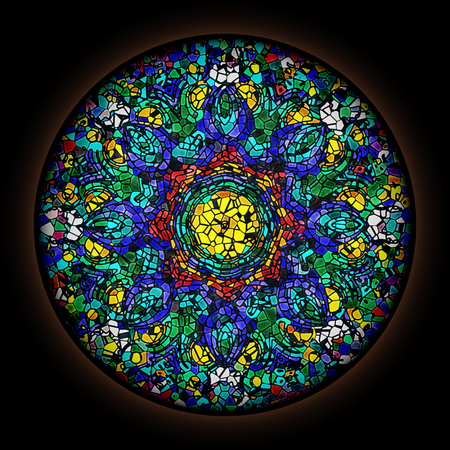 Colorful pattern in style of Gothic stained glass window with round frame. Abstract floral ornament. 新聞圖片