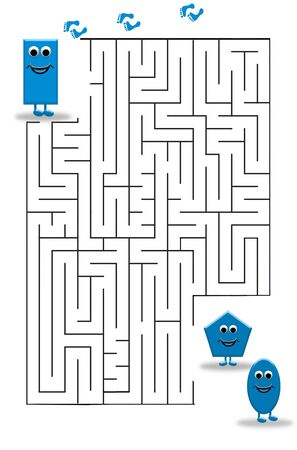 Funny maze game for Preschool Children. Illustration of logical education for children of preschool age. Reklamní fotografie