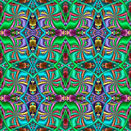 Multicolor Seamless abstract festive vivid pattern. Fantasy shapes. 3D elements. Great for tapestry, carpet, blanket, bedspread, fabric, ceramic tiles, stained glass window, wallpapers