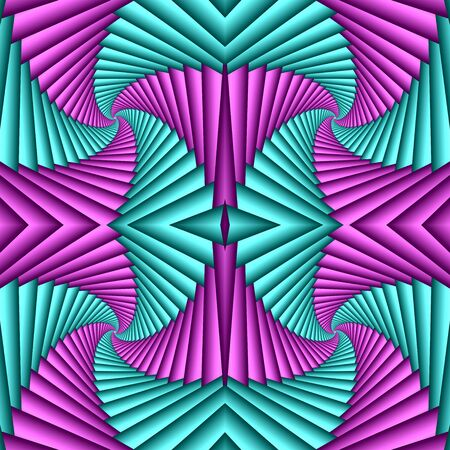 Seamless swirl abstract festive pattern, cyan, magenta. Tiled pattern. Geometric mosaic. Great for tapestry, carpet, blanket, bedspread, fabric, ceramic tiles, stained glass window, wallpapers