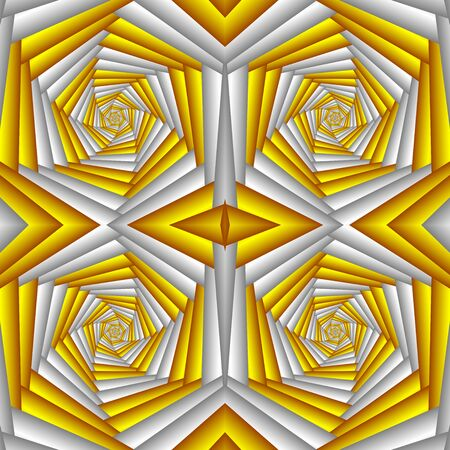 Seamless swirl abstract festive pattern, yellow and white. Tiled ethnic pattern. Geometric mosaic. Great for tapestry, carpet, blanket, bedspread, fabric, ceramic tiles, stained glass window, wallpapers