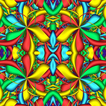 Multicolor Seamless abstract festive vivid pattern. Fantasy flower shapes. 3D elements. Great for tapestry, carpet, blanket, bedspread, fabric, ceramic tiles, stained glass window, wallpapers Banco de Imagens