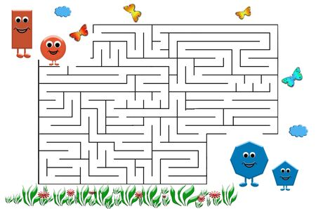 Funny maze game for Preschool Children. Illustration of logical education for children of preschool age. 写真素材