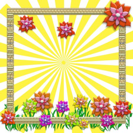Creative summer concept photo. Abstract floral background with sun rays, flowers, frame and green grass.