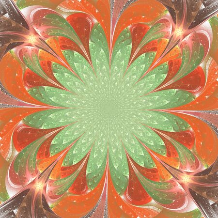 Beautiful fractal flower in stained glass window style. You can use it for invitations, notebook covers, phone case, postcards, cards, wallpapers and so on.