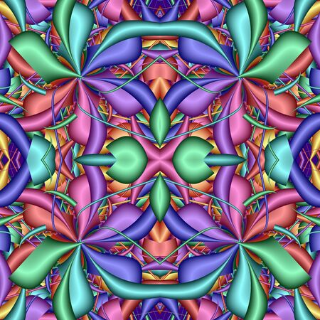 Multicolor Seamless abstract festive vivid pattern. Fantasy flower shapes. 3D elements. Great for tapestry, carpet, blanket, bedspread, fabric, ceramic tiles, stained glass window, wallpapers 写真素材