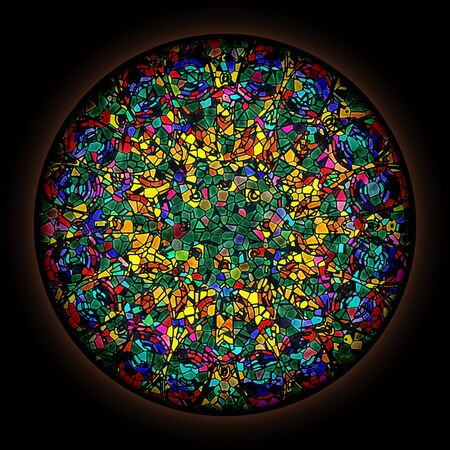 Colorful pattern in style of Gothic stained glass window with round frame. Abstract floral ornament. Фото со стока