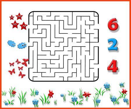 Funny maze game for Preschool Children. Illustration of logical education for children of preschool age. Stock fotó