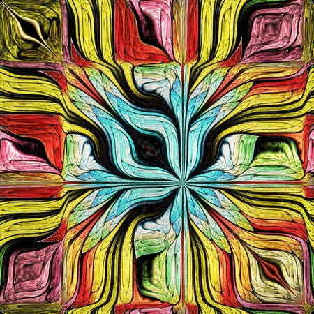 Multicolored Abstract Stylized flower. Modern art. Artwork for creative design, art and entertainment.