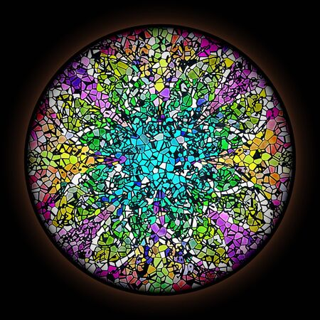 Colorful pattern in style of Gothic stained glass window with round frame. Multicolored floral ornament.