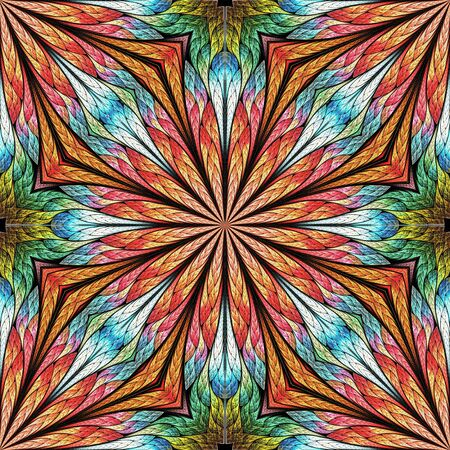 Multicolored fractal flower in stained glass window style. You can use it for invitations, notebook covers, phone case, postcards, cards, wallpapers. Orange, green, blue Reklamní fotografie
