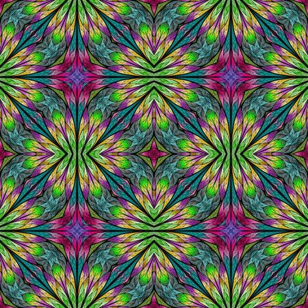 Multicolored floral pattern in stained-glass window style. You can use it for invitations, notebook covers, phone cases, postcards, cards, wallpaper. Pink, green. Artwork for creative design.