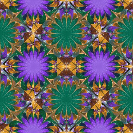 Pattern in stained-glass window style. Purple, green and beige palette. You can use it for invitations, notebook covers, phone cases, postcards, cards, wallpaper. Artwork for creative design.