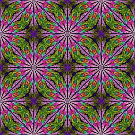 Multicolored seamless floral pattern in stained-glass window style. You can use it for invitations, notebook covers, phone cases, postcards, cards, wallpaper. Pink, green. Artwork for creative design.
